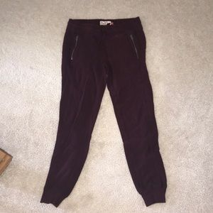 Maroon cropped joggers
